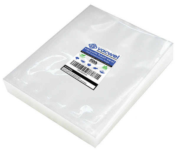 Vacwel Food Vacuum Sealer Bags- 100 pre-cut bag pack, Quart size (8x12 inch pre-cut food bag pockets), Smooth transparent one side, other sealing side is embossed. Vacuum Sealing Bags That Stop Freezer Burn, Bags Fit All Sealers