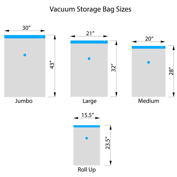 6 Vacuum Storage Bags + 2 Compression Bags Pack (2 of each size) with BONUS Travel Pump included
