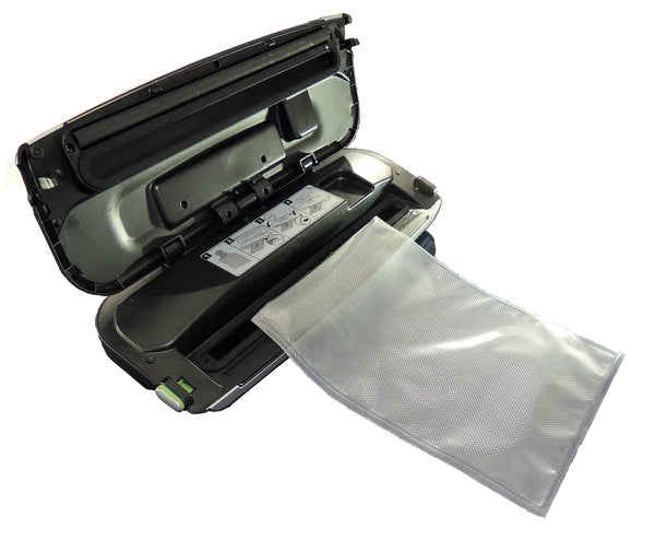 Vacwel Food Vacuum Sealer Bags- 100 pre-cut bag pack, Gallon size (11x16 inch pre-cut food bag pockets), Smooth transparent one side, other sealing side is embossed. Vacuum Sealing Bags That Stop Freezer Burn, Bags Fit All Sealers