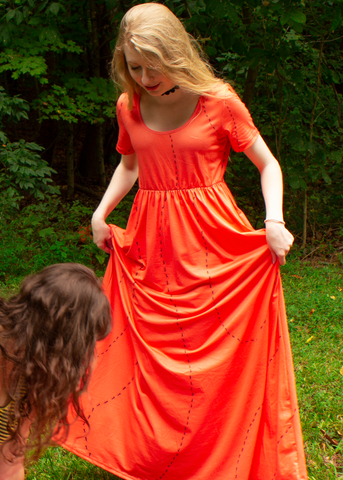 Ant Invasion Maxi Dress in Tomato