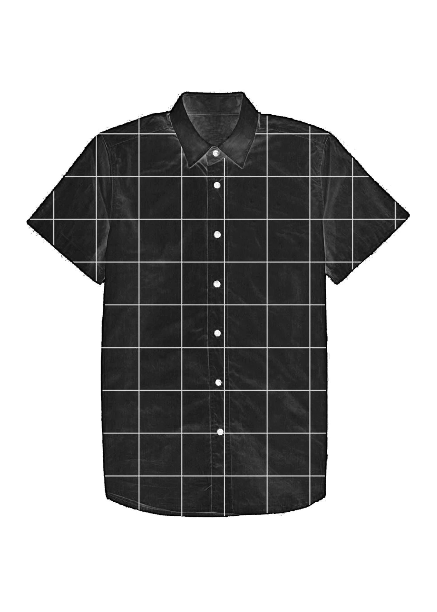 Black Grid Print Dad Shirt