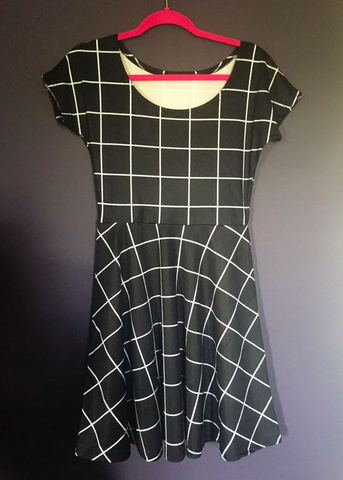 black grid skater dress
