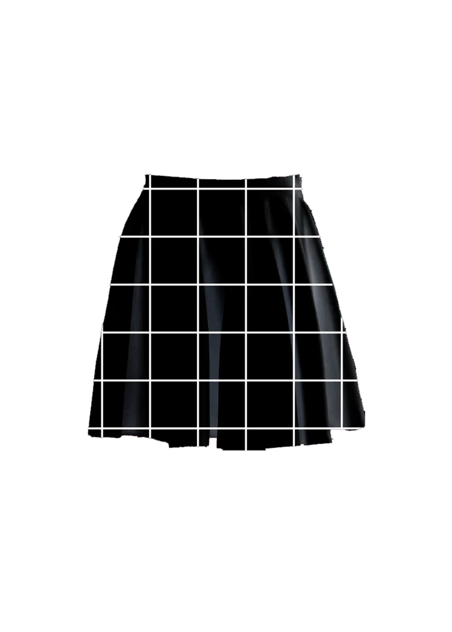 black grid skater skirt