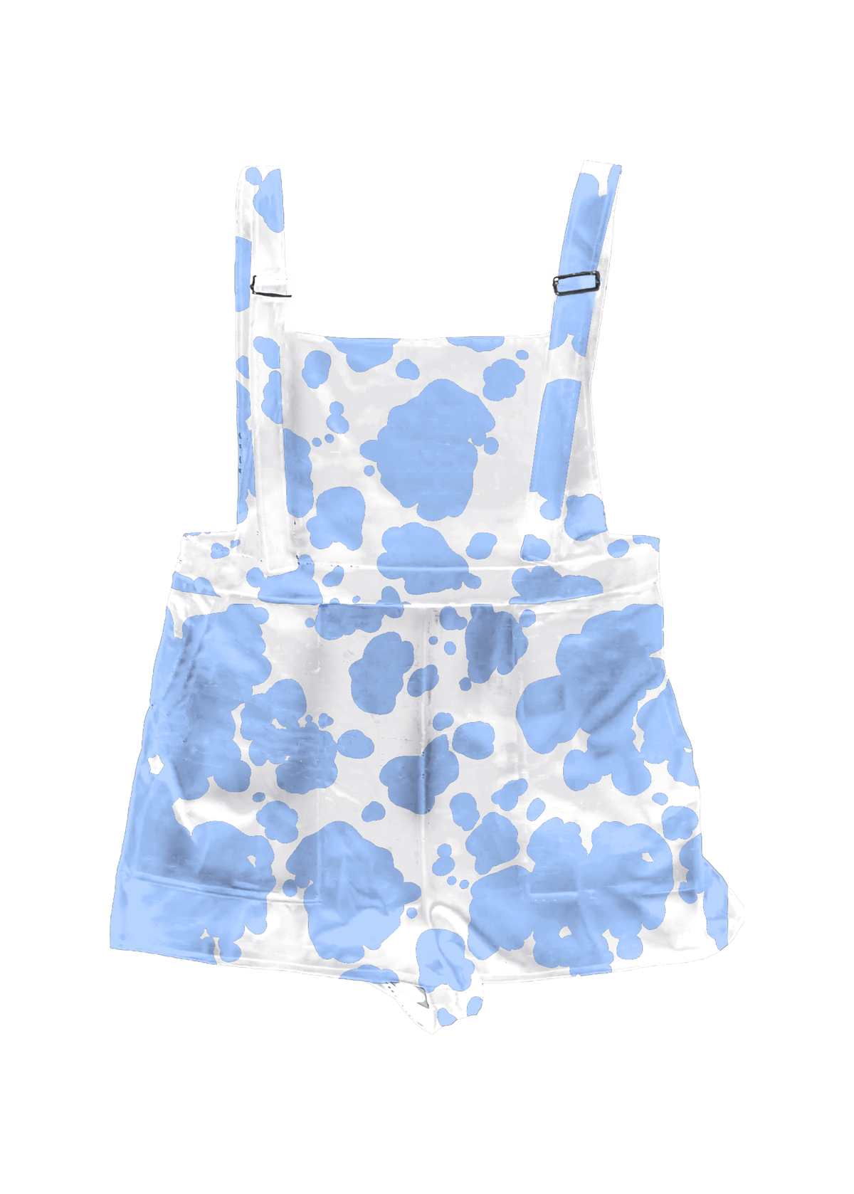 Blue Cow Print Overall Shorts