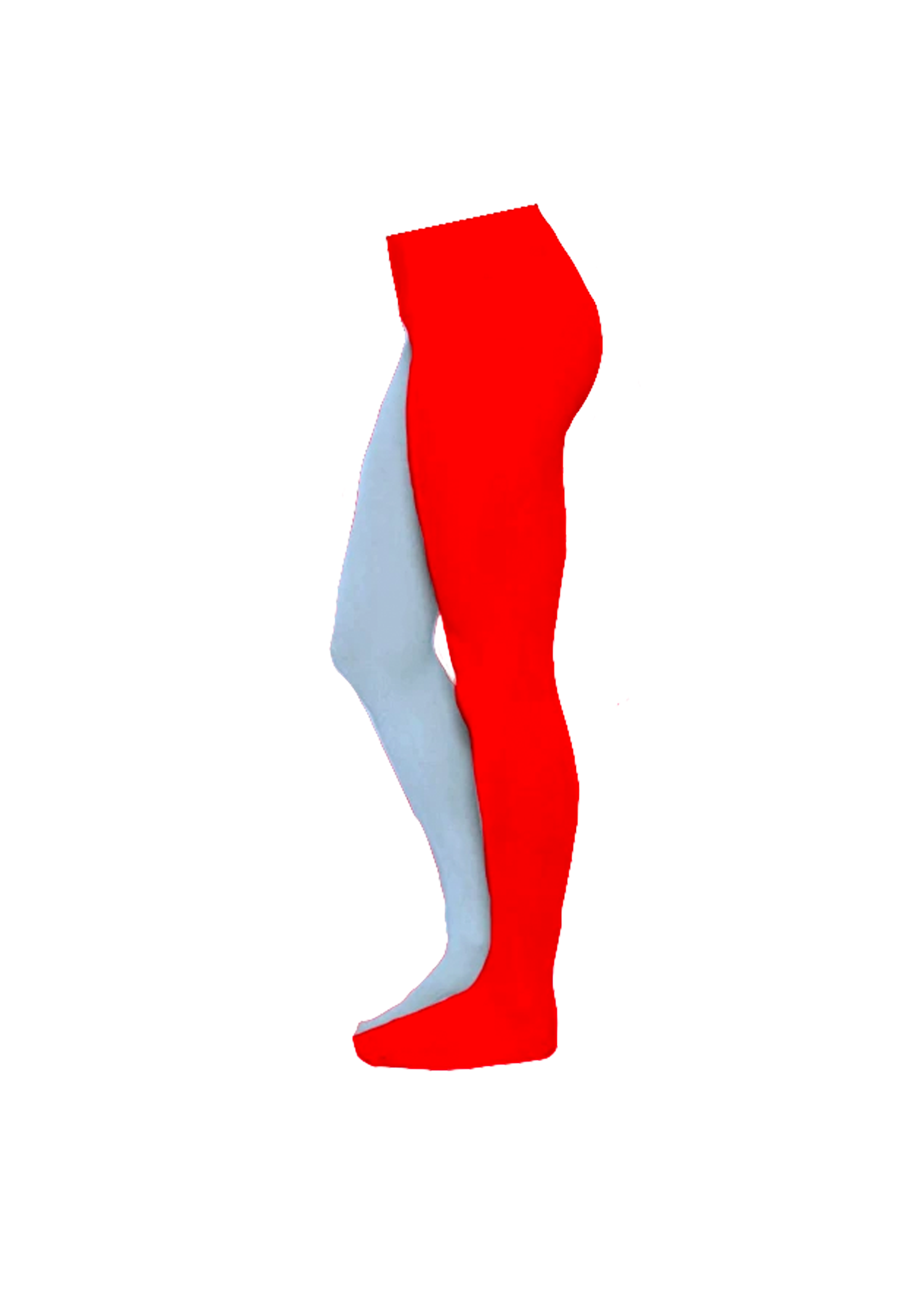 split tights - sky blue & blood red
