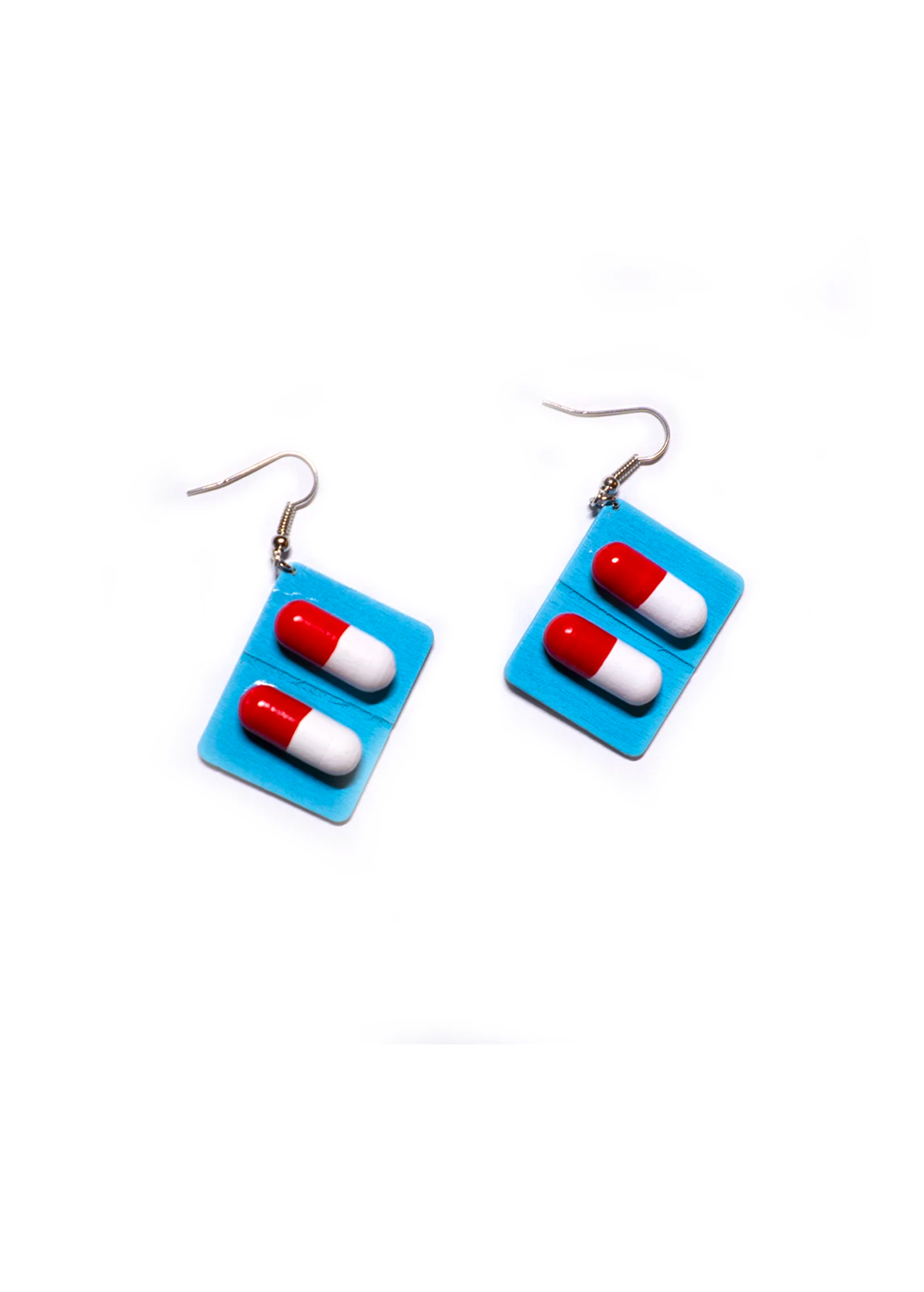 blue capsule pill earrings