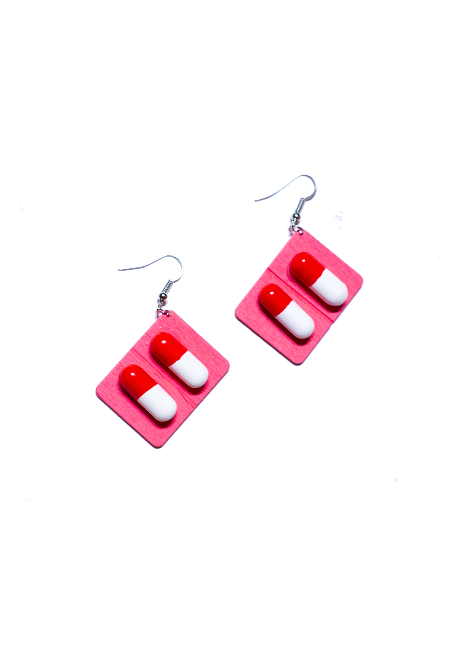 pink capsule pill earrings