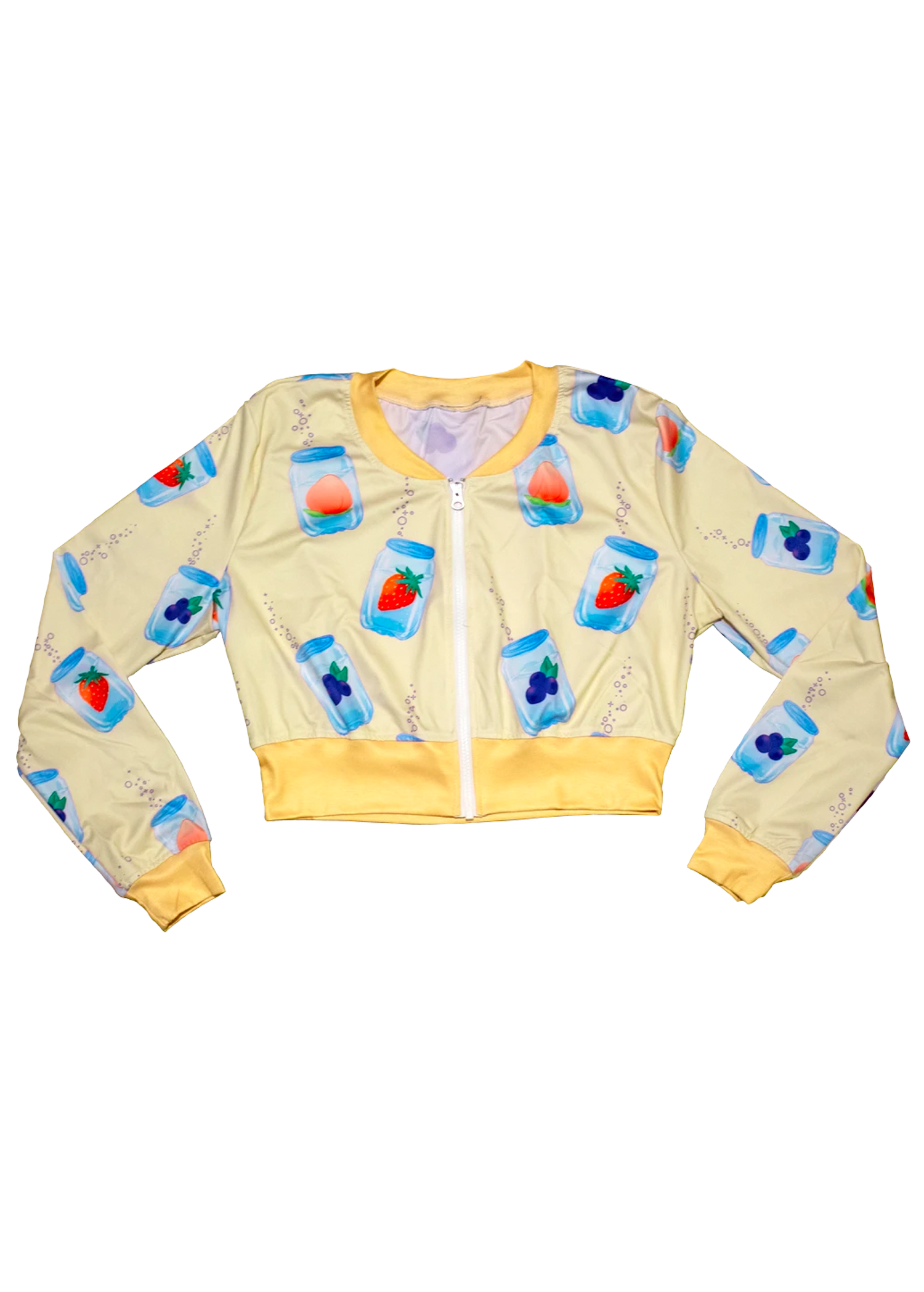 Fizzy Cropped Bomber Jacket in Banana