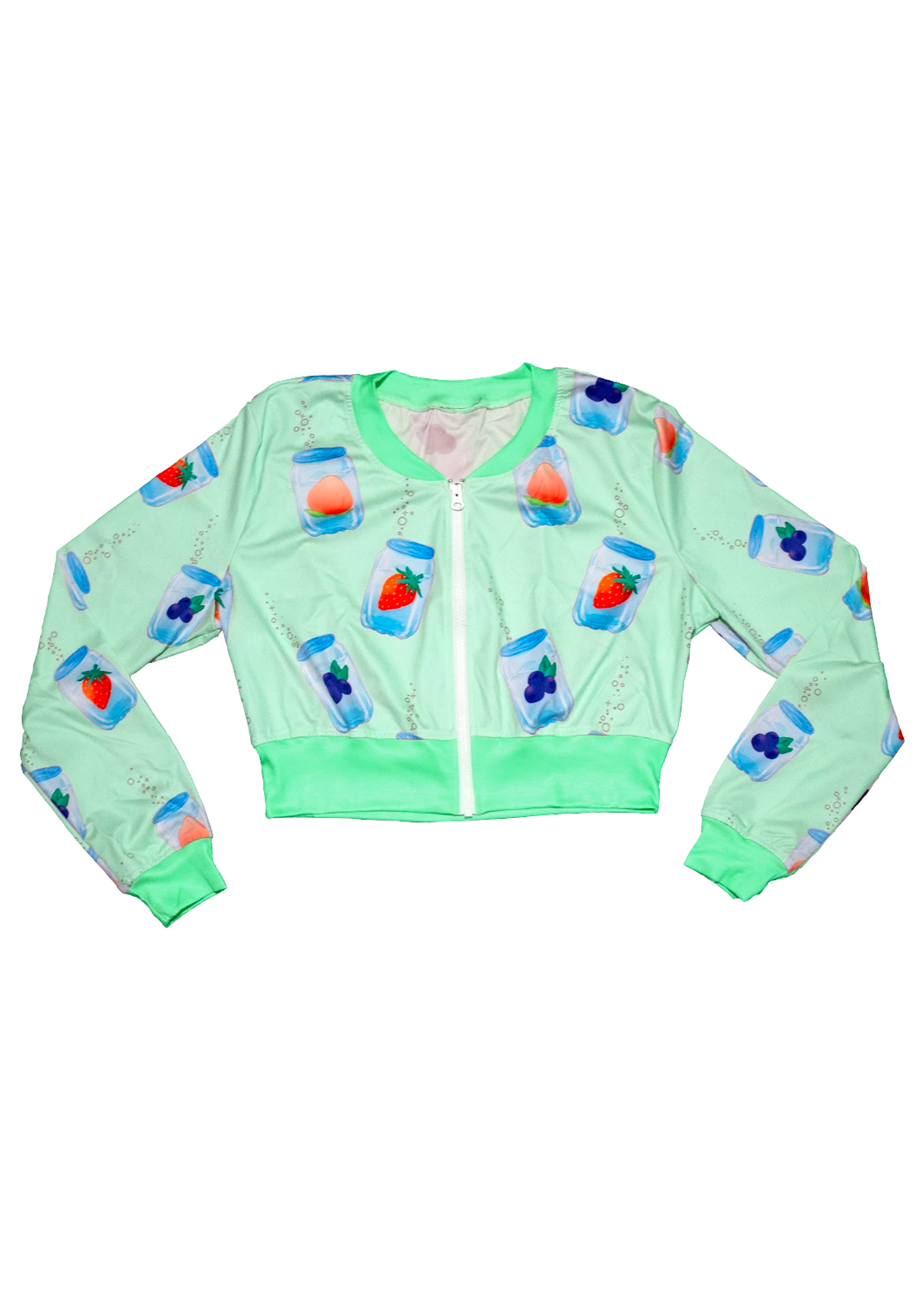 Fizzy Cropped Bomber Jacket in Mint