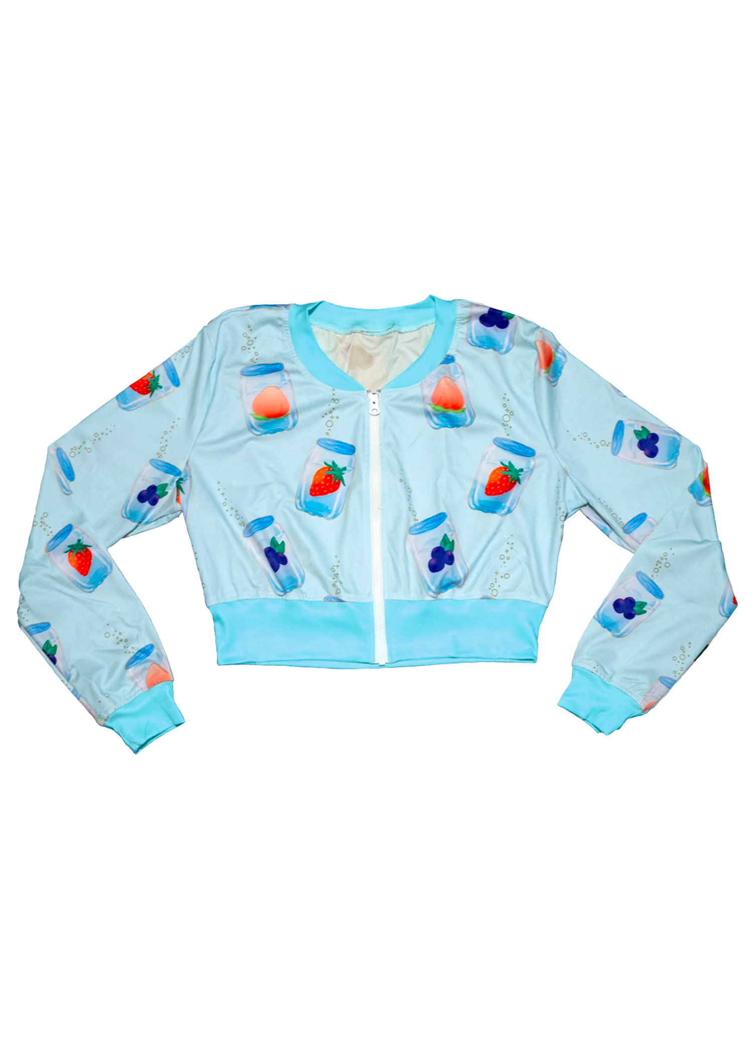Fizzy Cropped Bomber Jacket in Blue