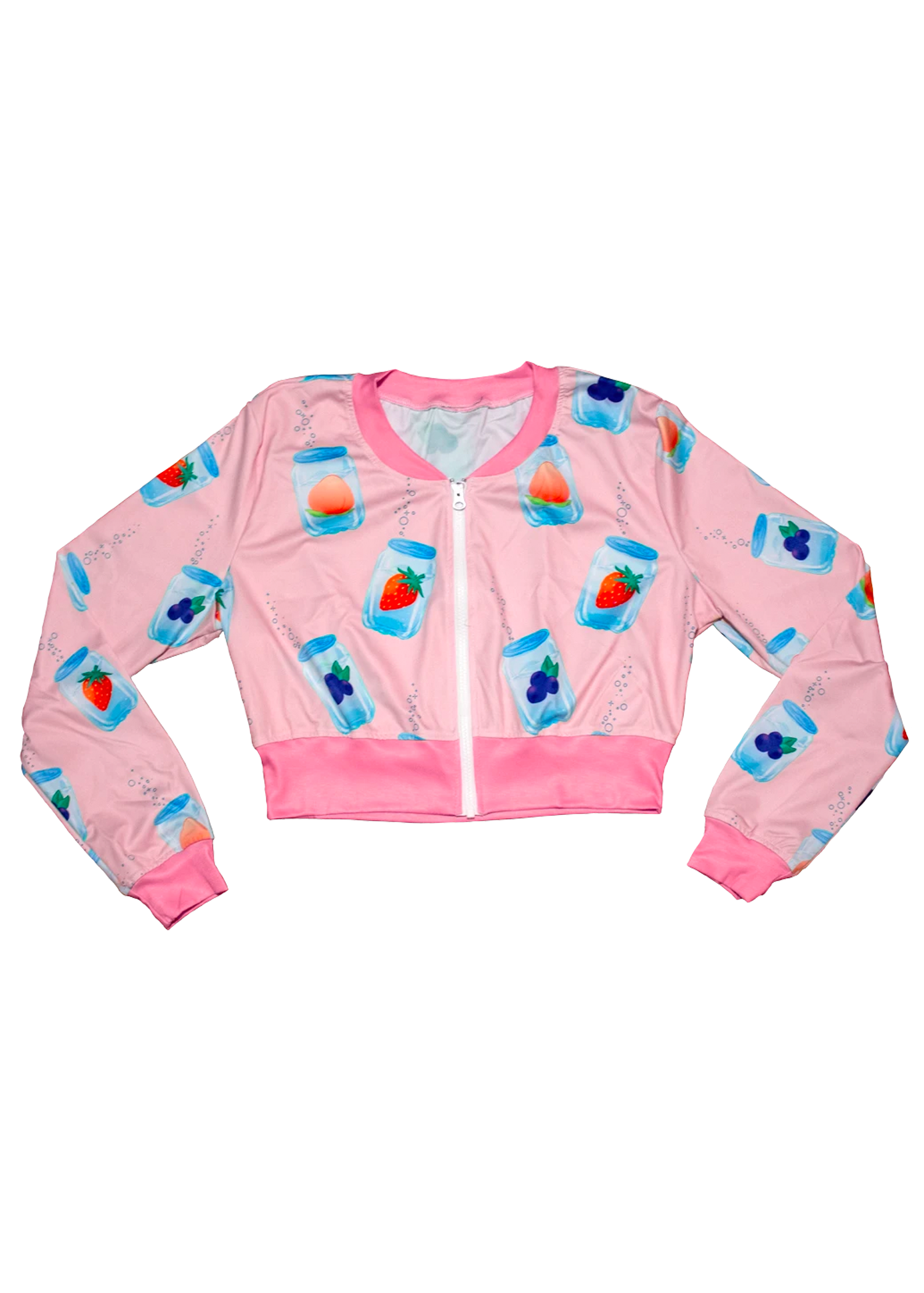 Fizzy Cropped Bomber Jacket in Pink