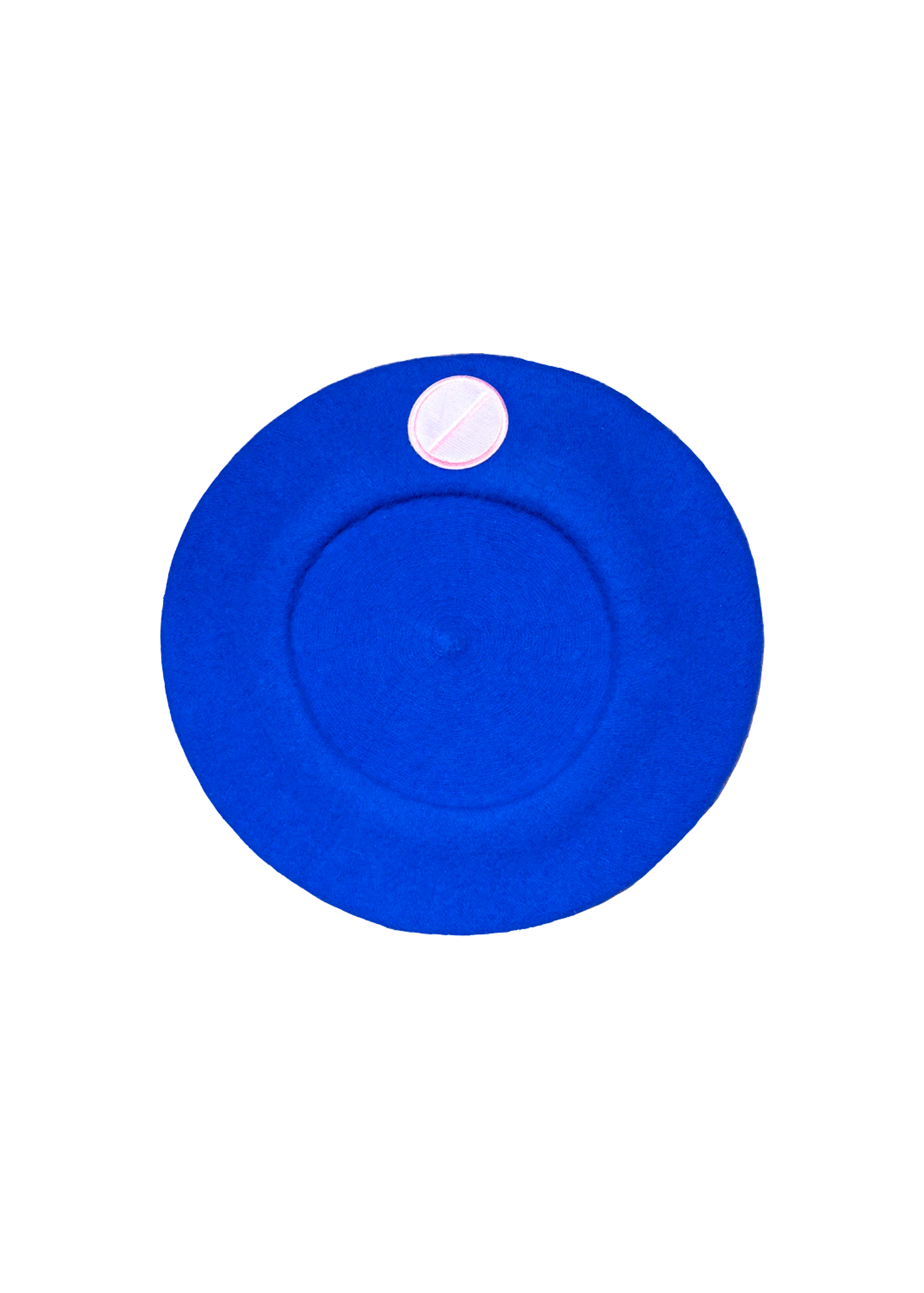 flat pill beret in blue