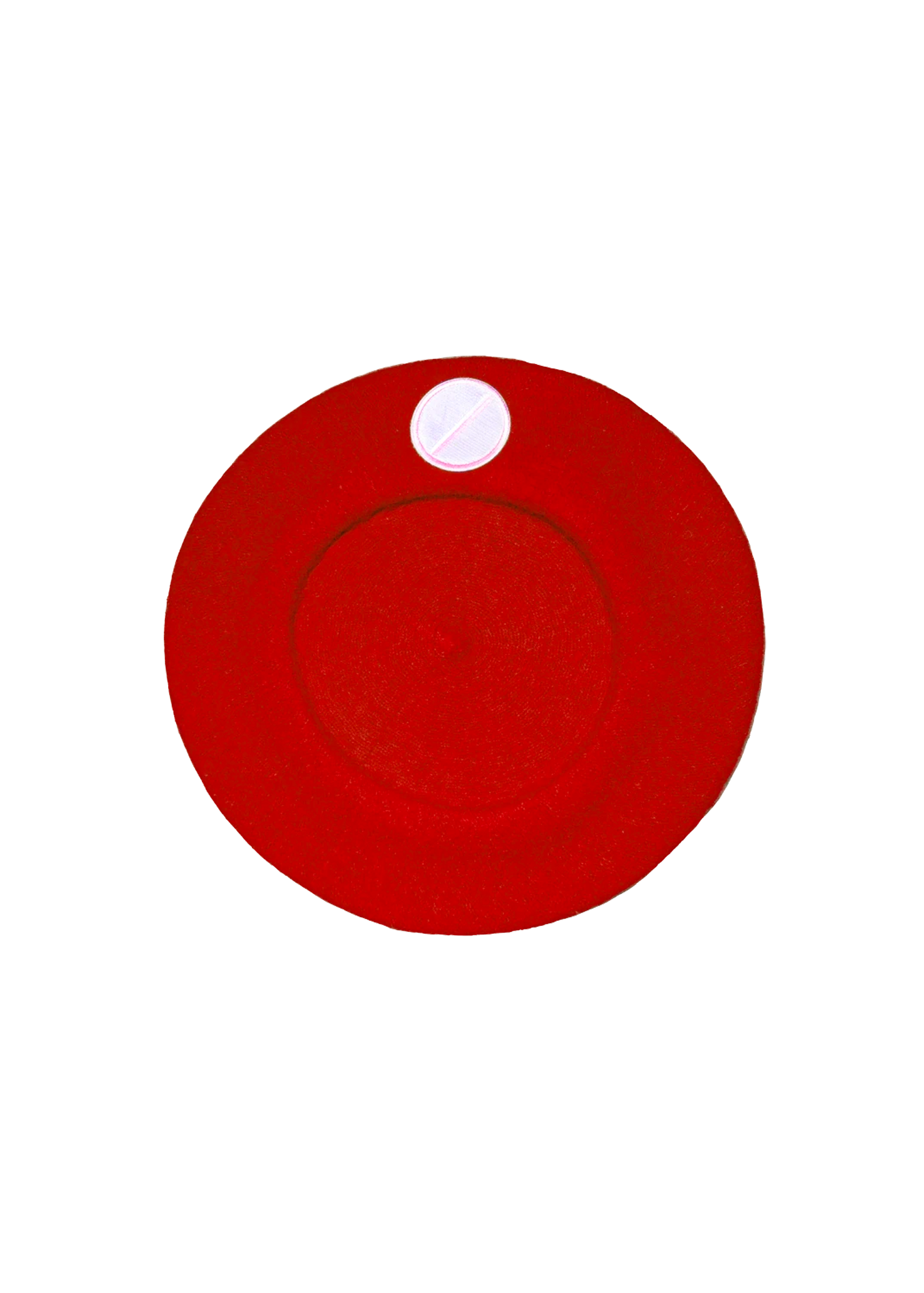 flat pill beret in red