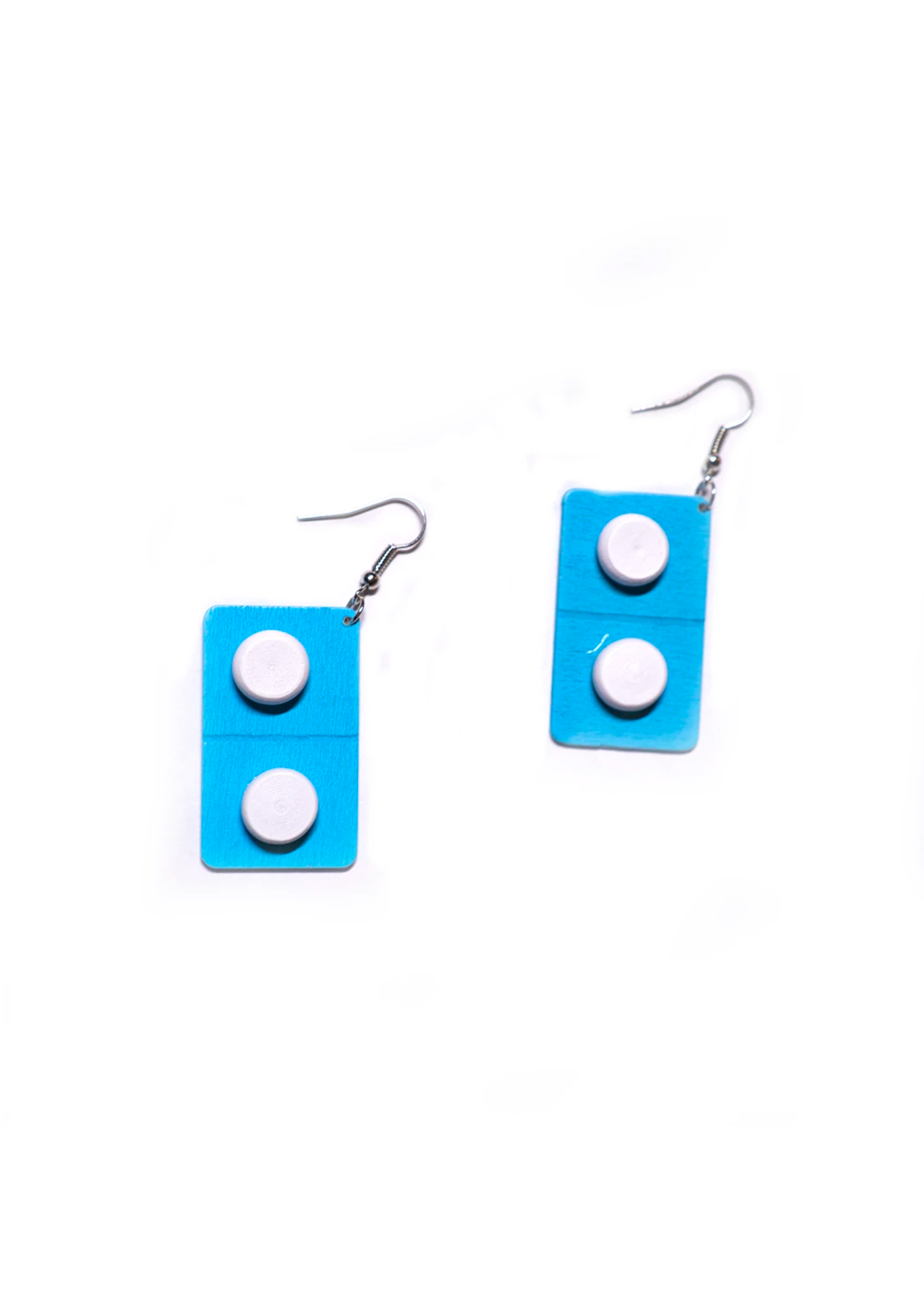 blue flat pill earrings