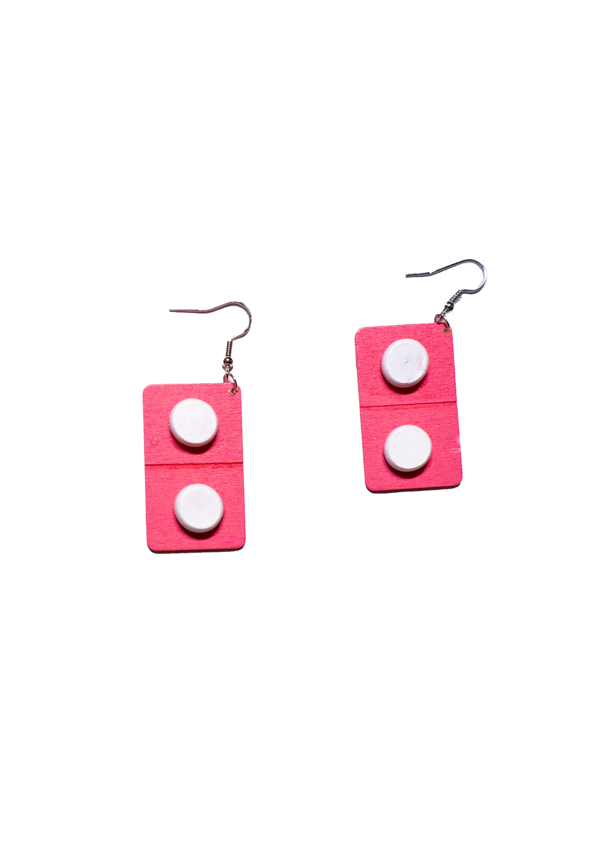 pink flat pill earrings