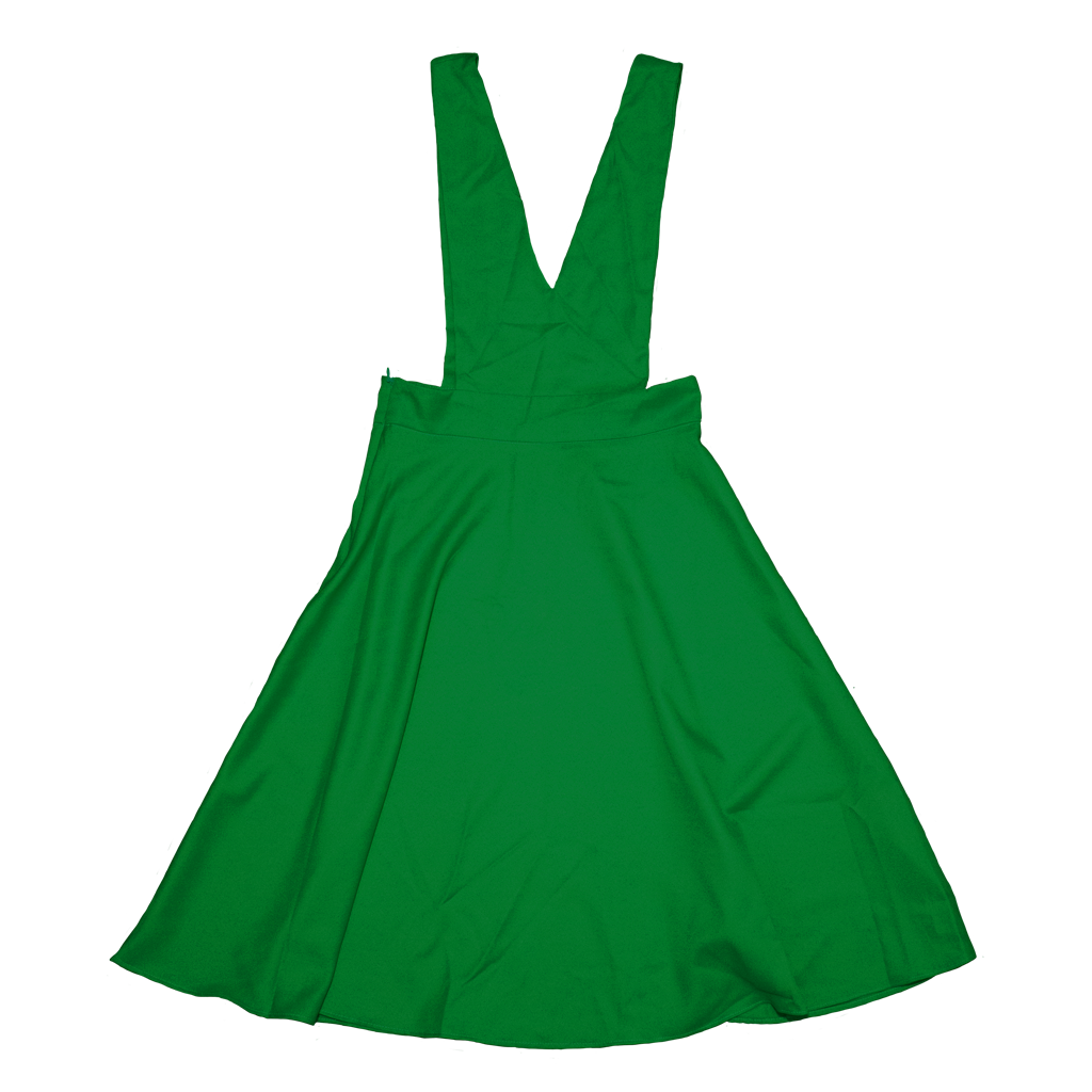 V-Cut Pinafore Skirt in Green