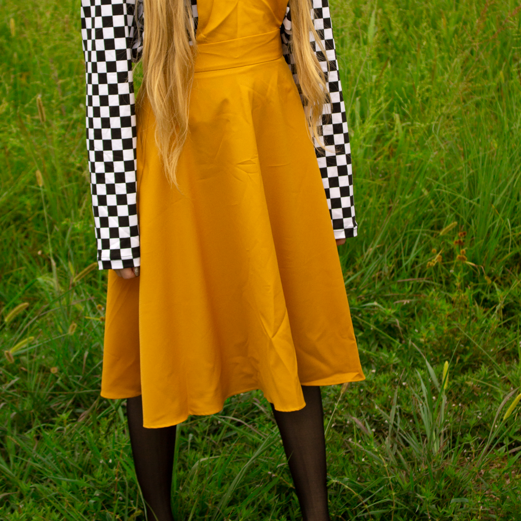 V-Cut Pinafore Skirt in Gold