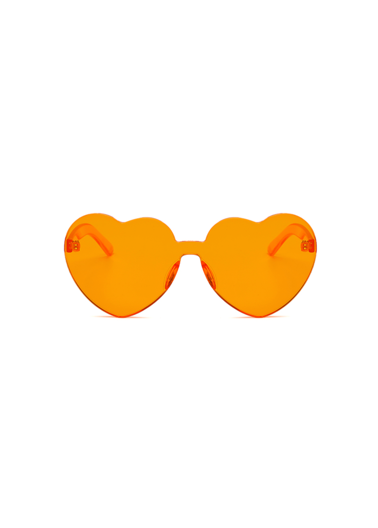 heart eye glasses in orange