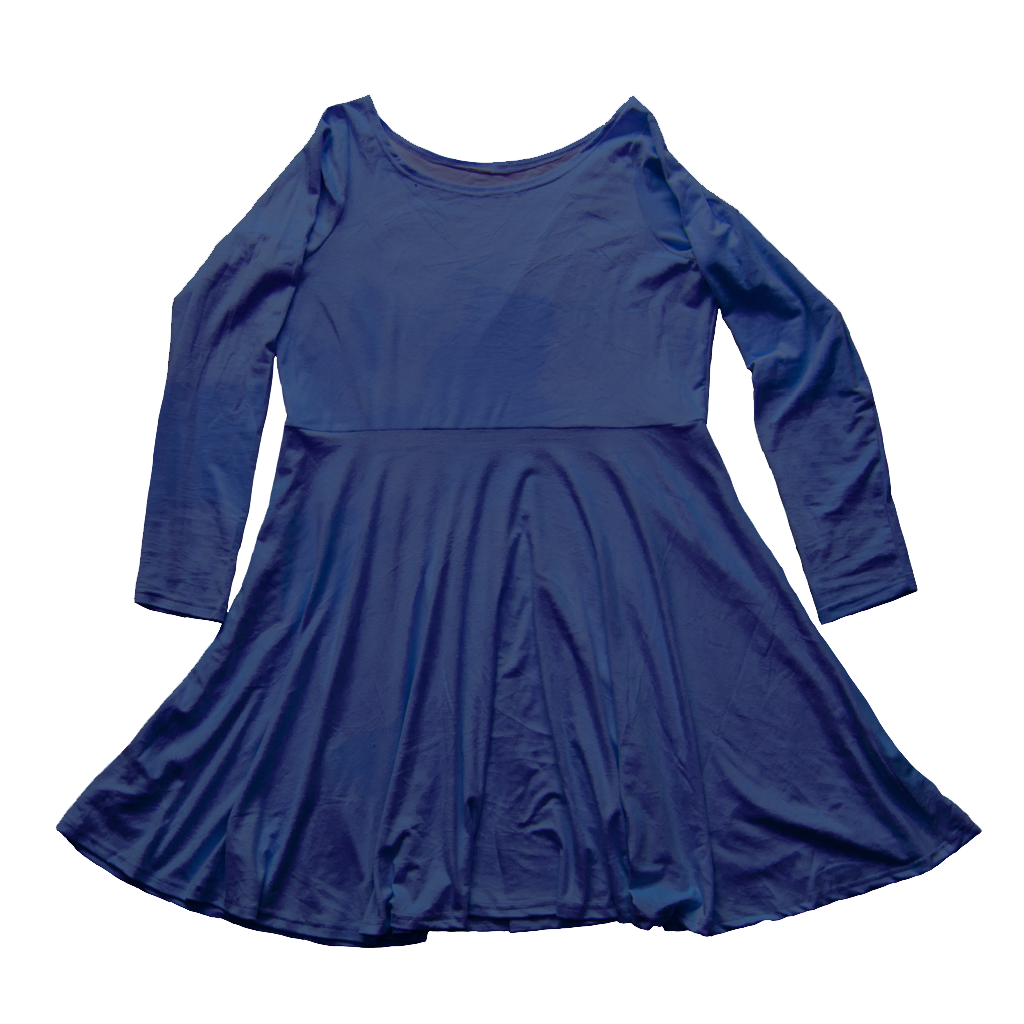 klein blue velvet skater dress