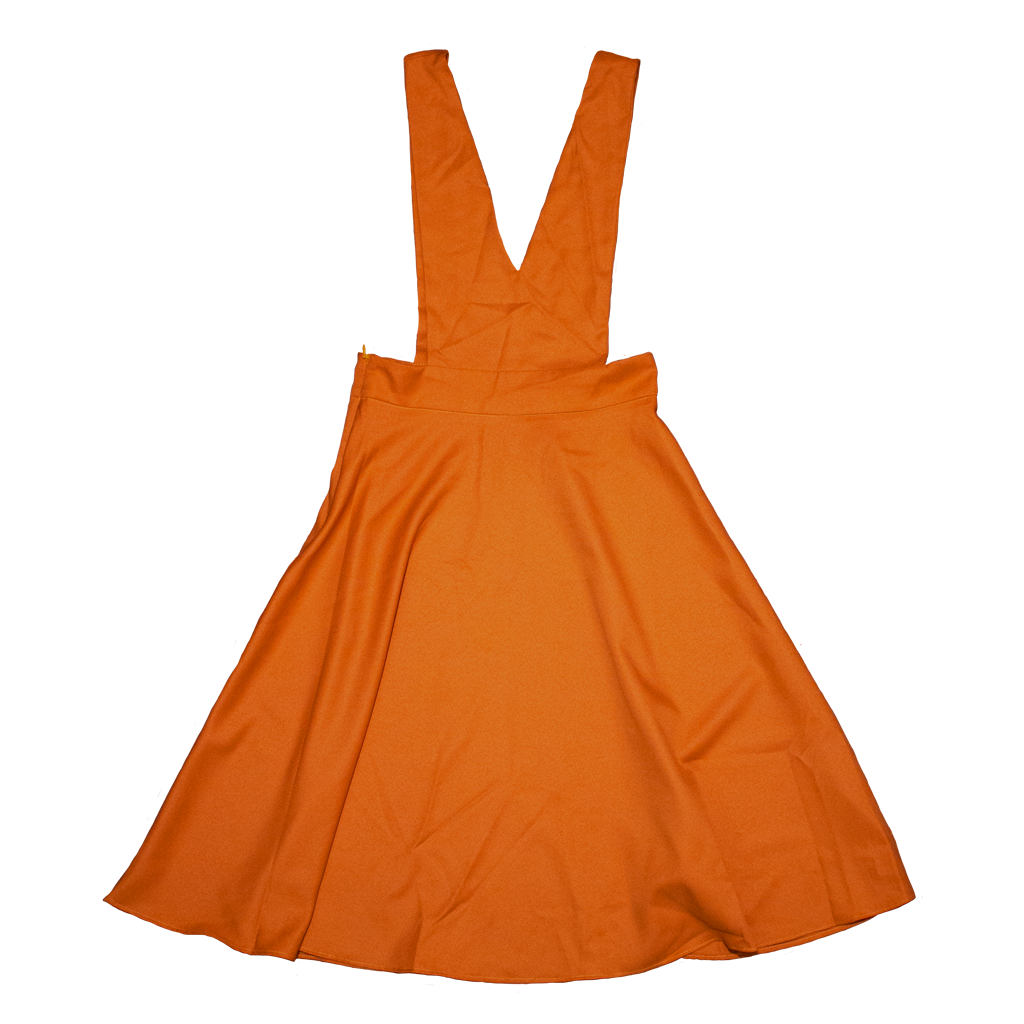 V-Cut Pinafore Skirt in Orange