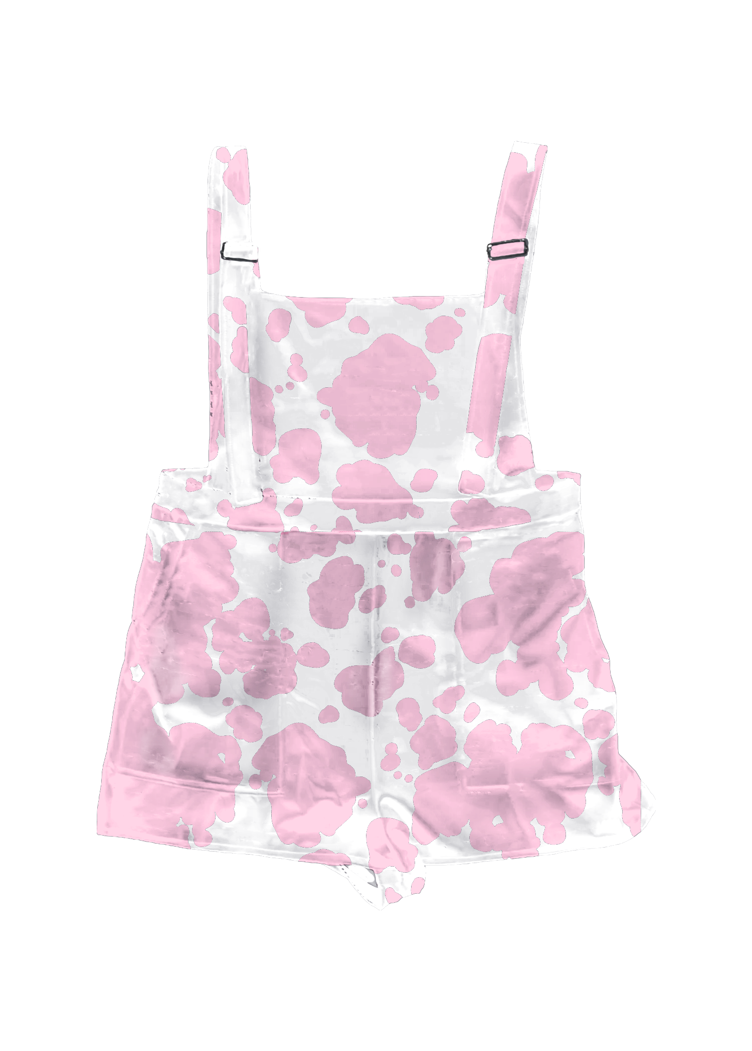 Pink Cow Print Overall Shorts