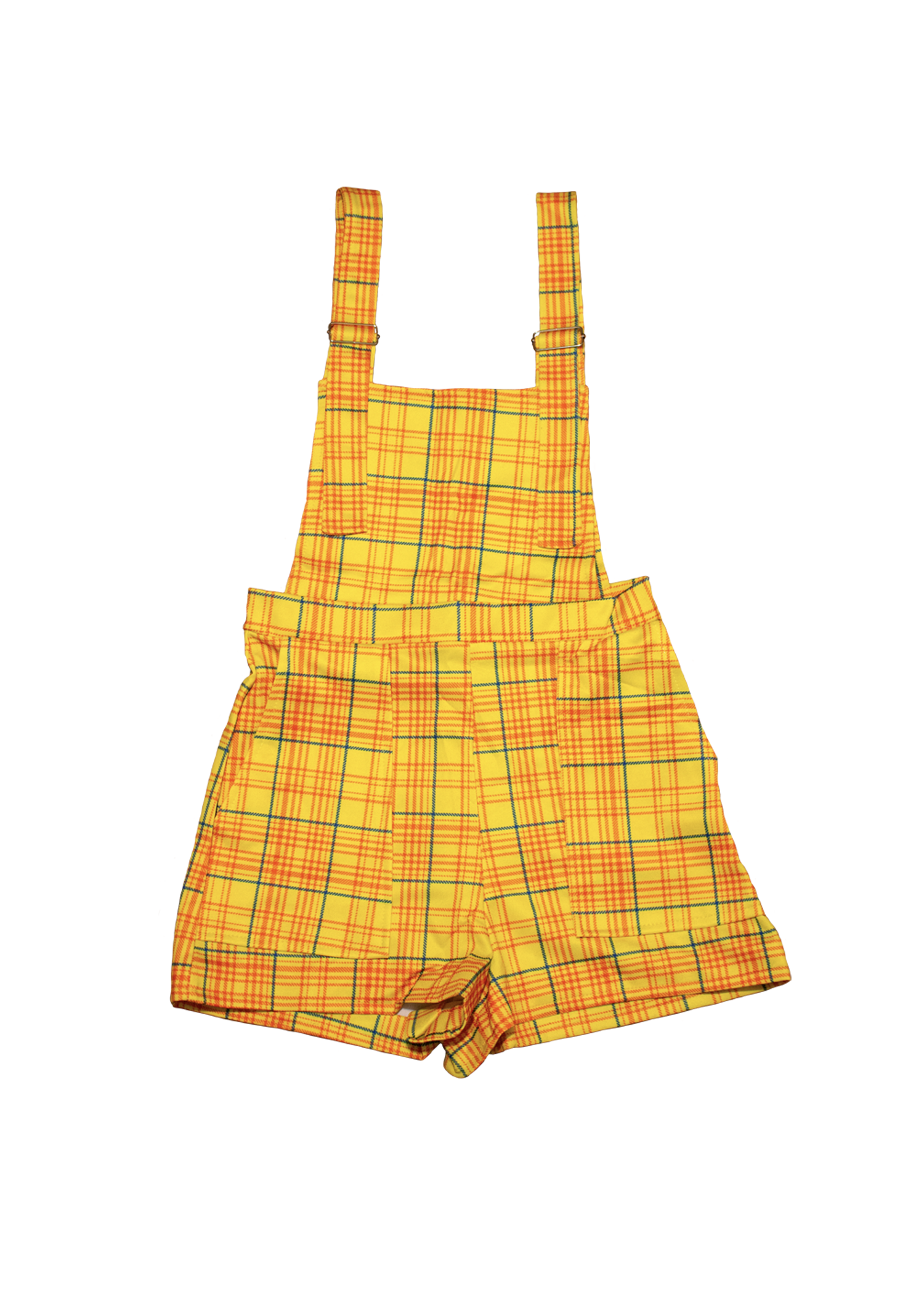 Primary Plaid Overall Shorts