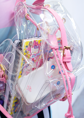 transparent pink backpack