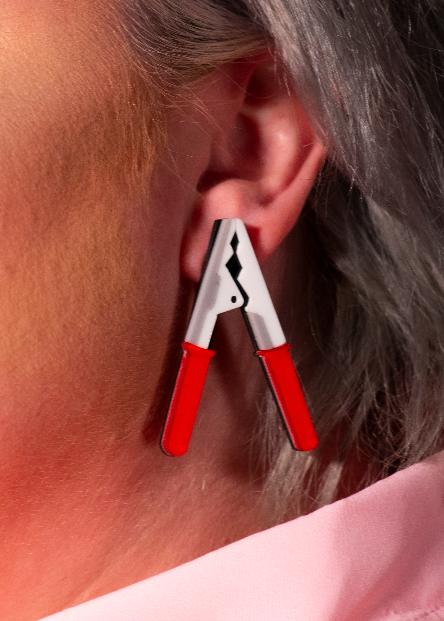 red clamp earrings