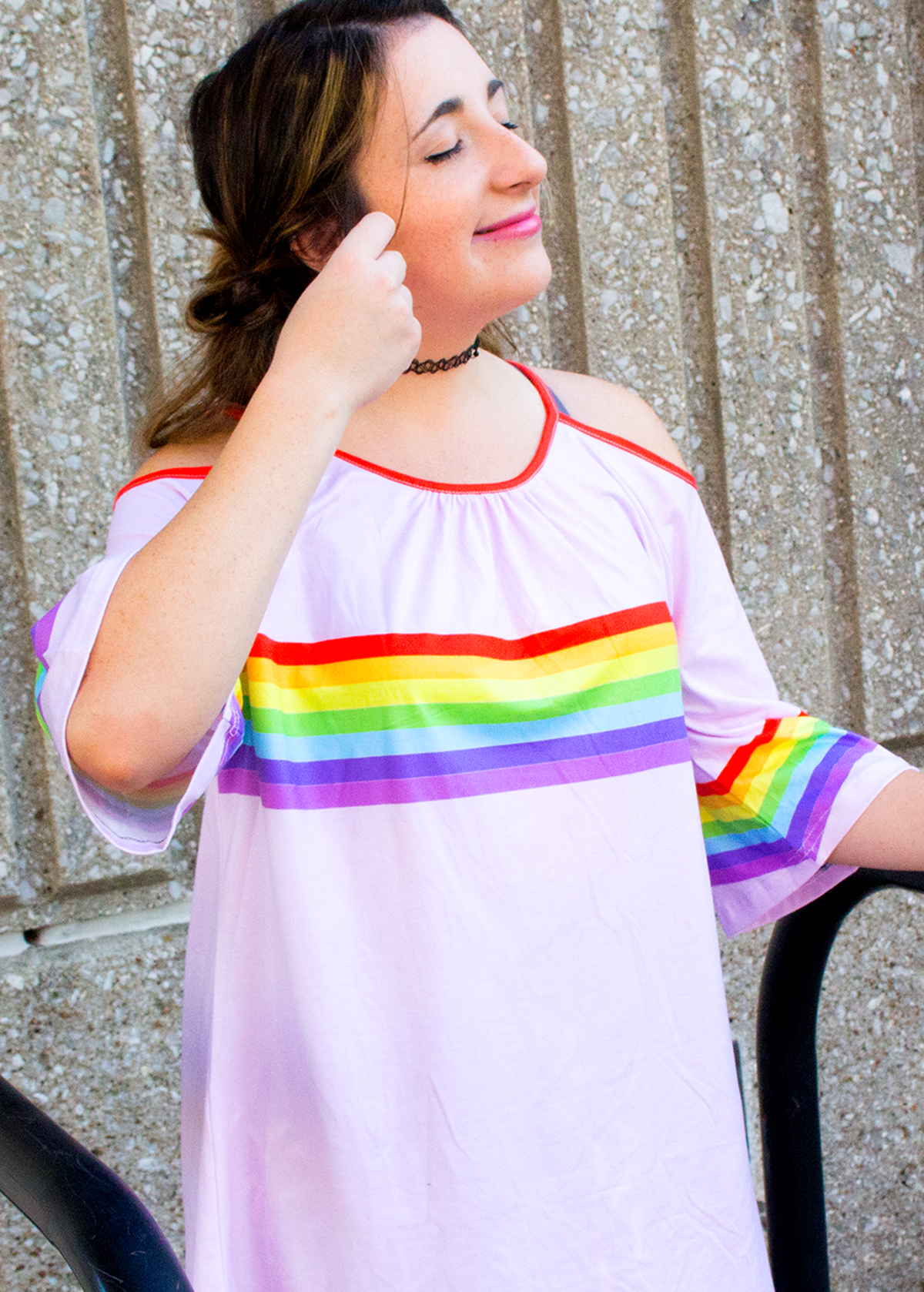 rainbow cut out tee
