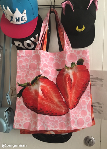 strawberry milkshake tote bag