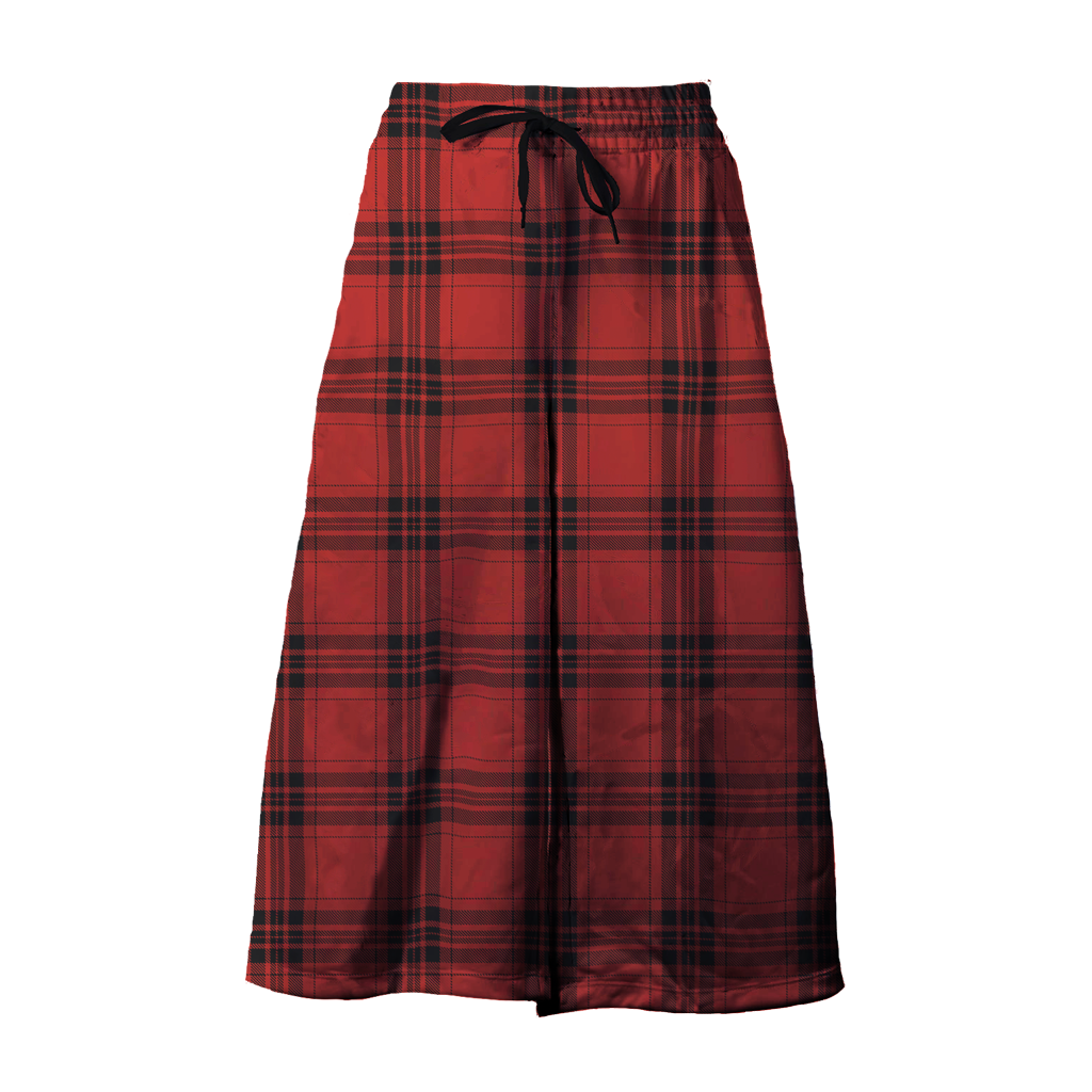 velour tartan wide leg cropped pants