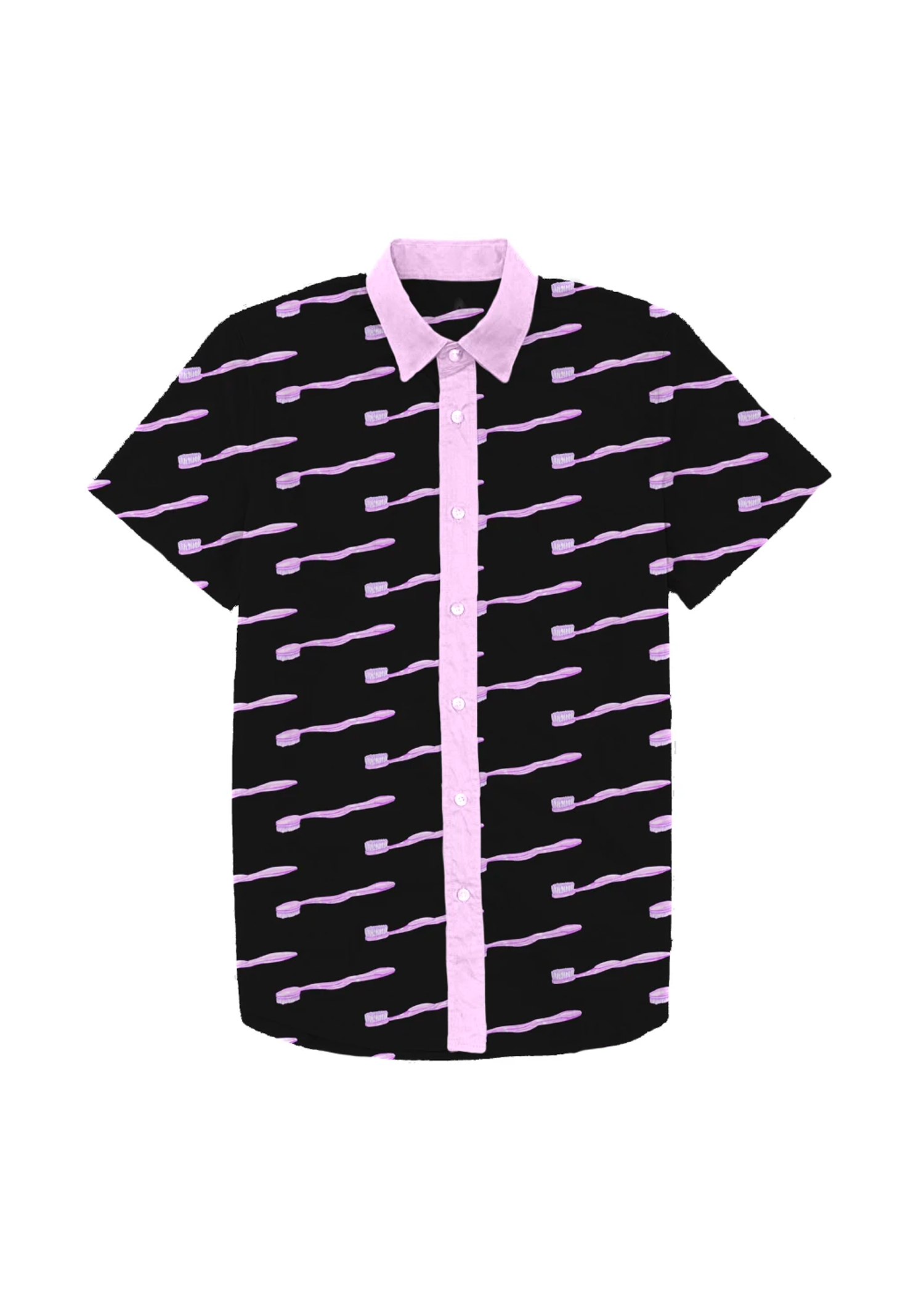 toothbrush dad shirt in black & lilac