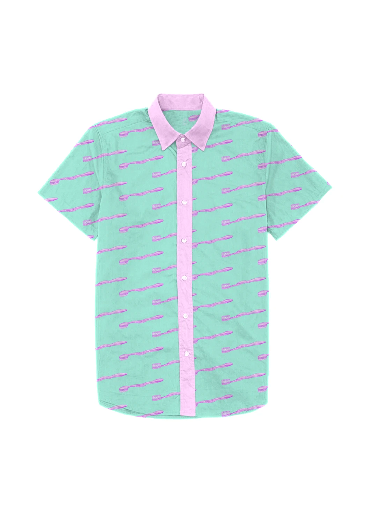 toothbrush dad shirt in mint & lilac