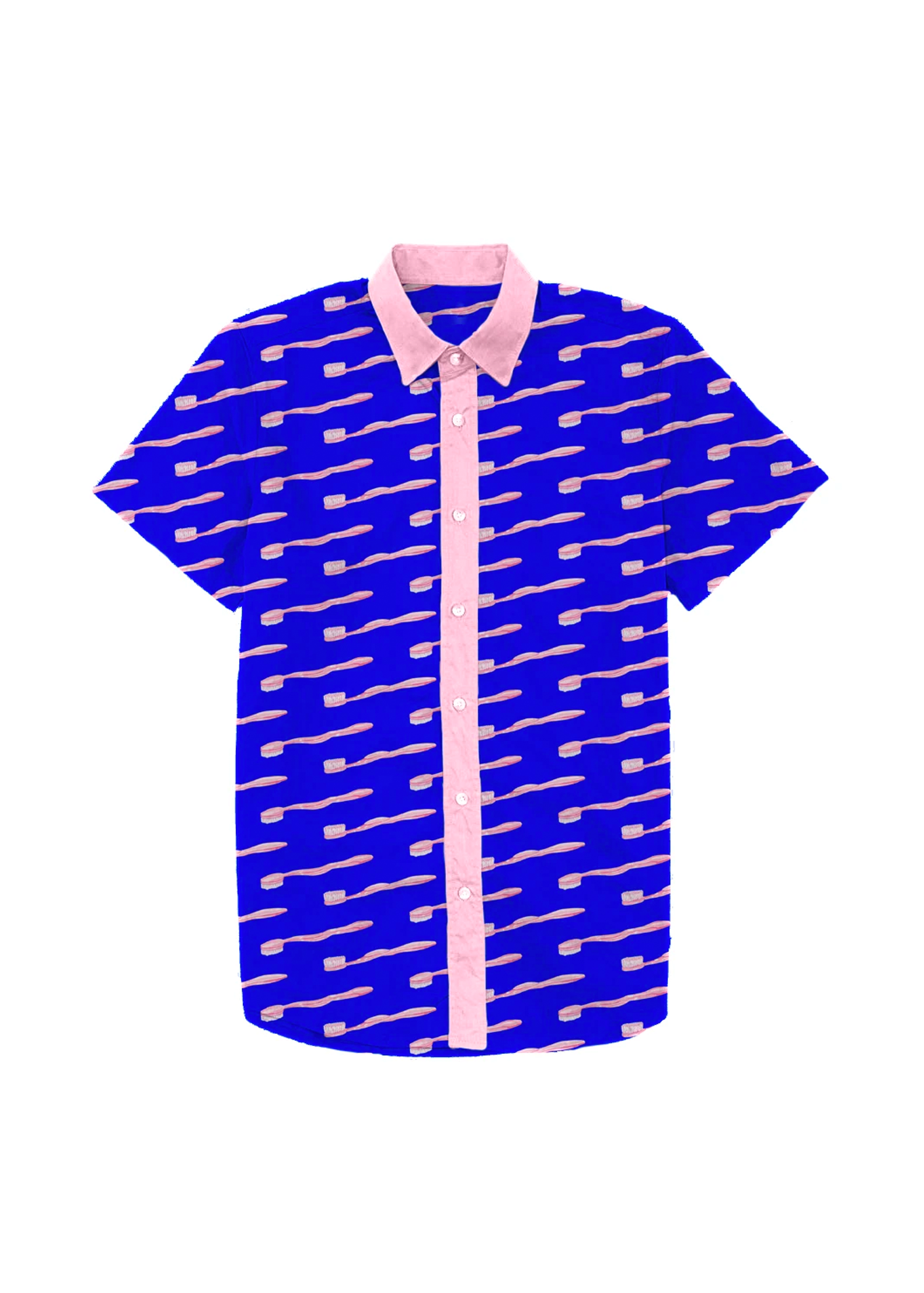 toothbrush dad shirt in blue & pink