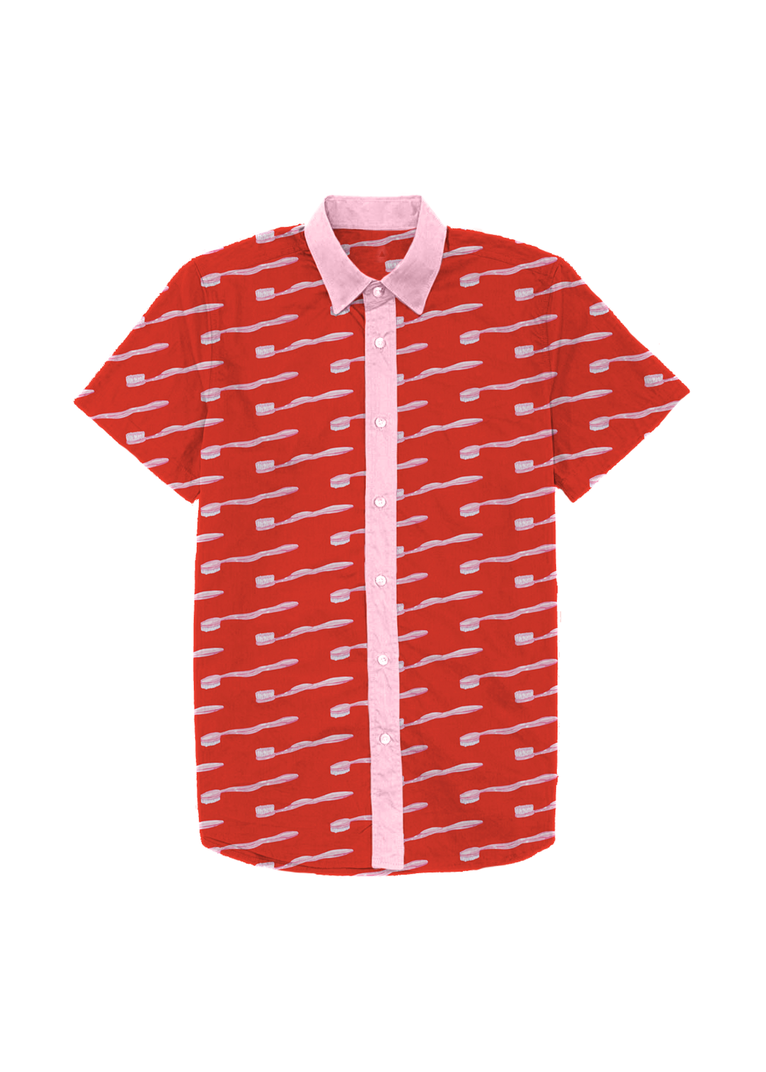 toothbrush dad shirt in red & pink