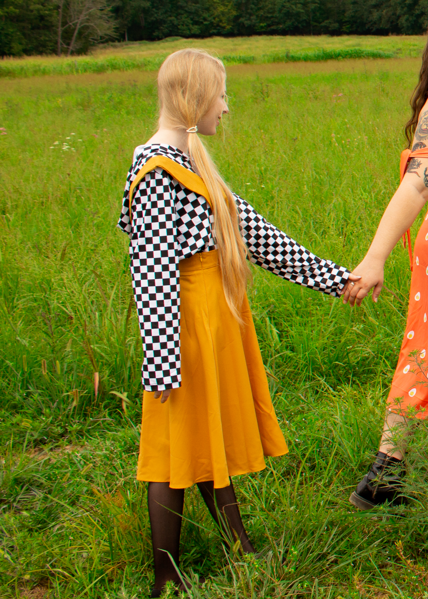 V-Cut Pinafore Skirt in Yellow