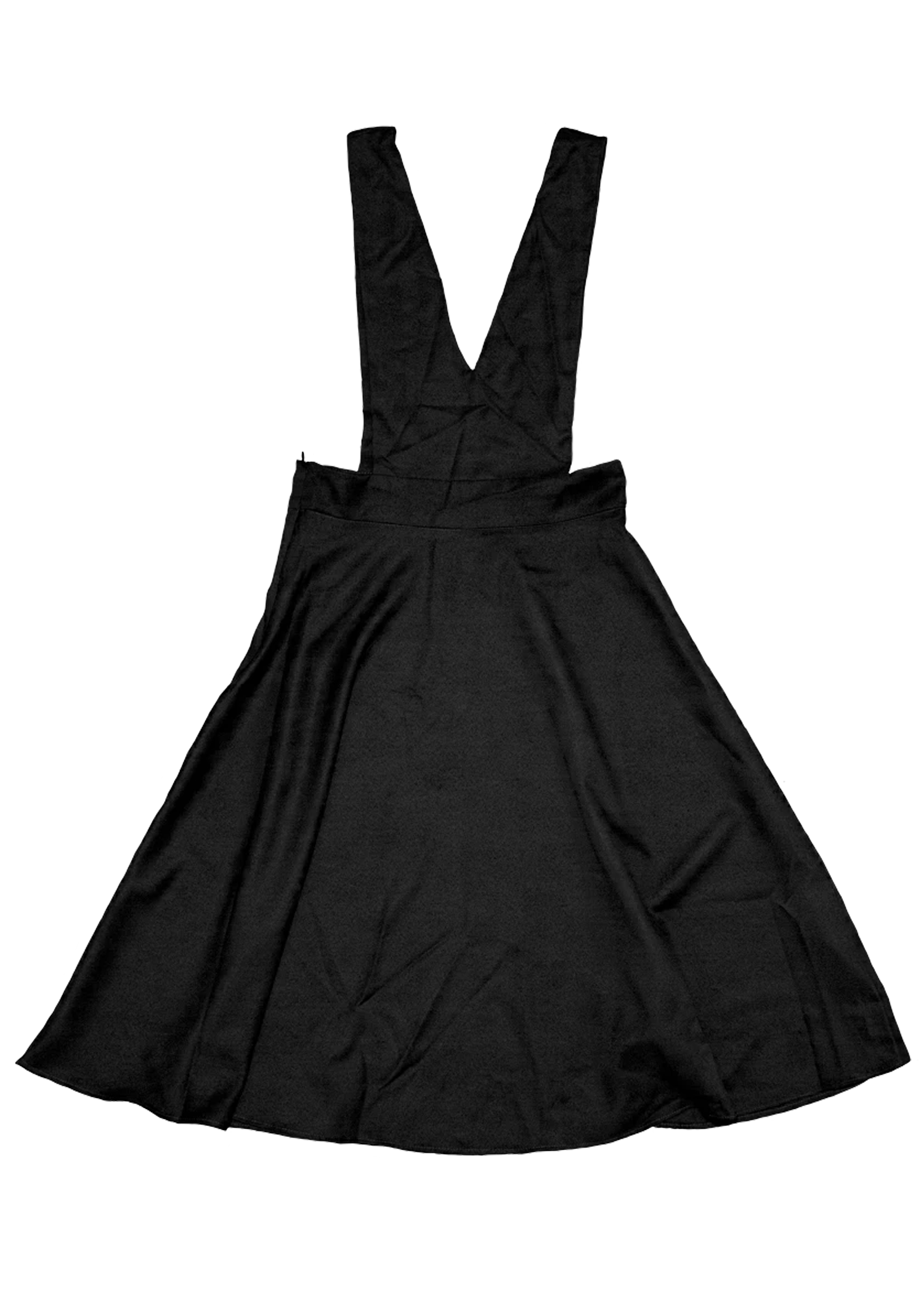 V-Cut Pinafore Skirt in Black