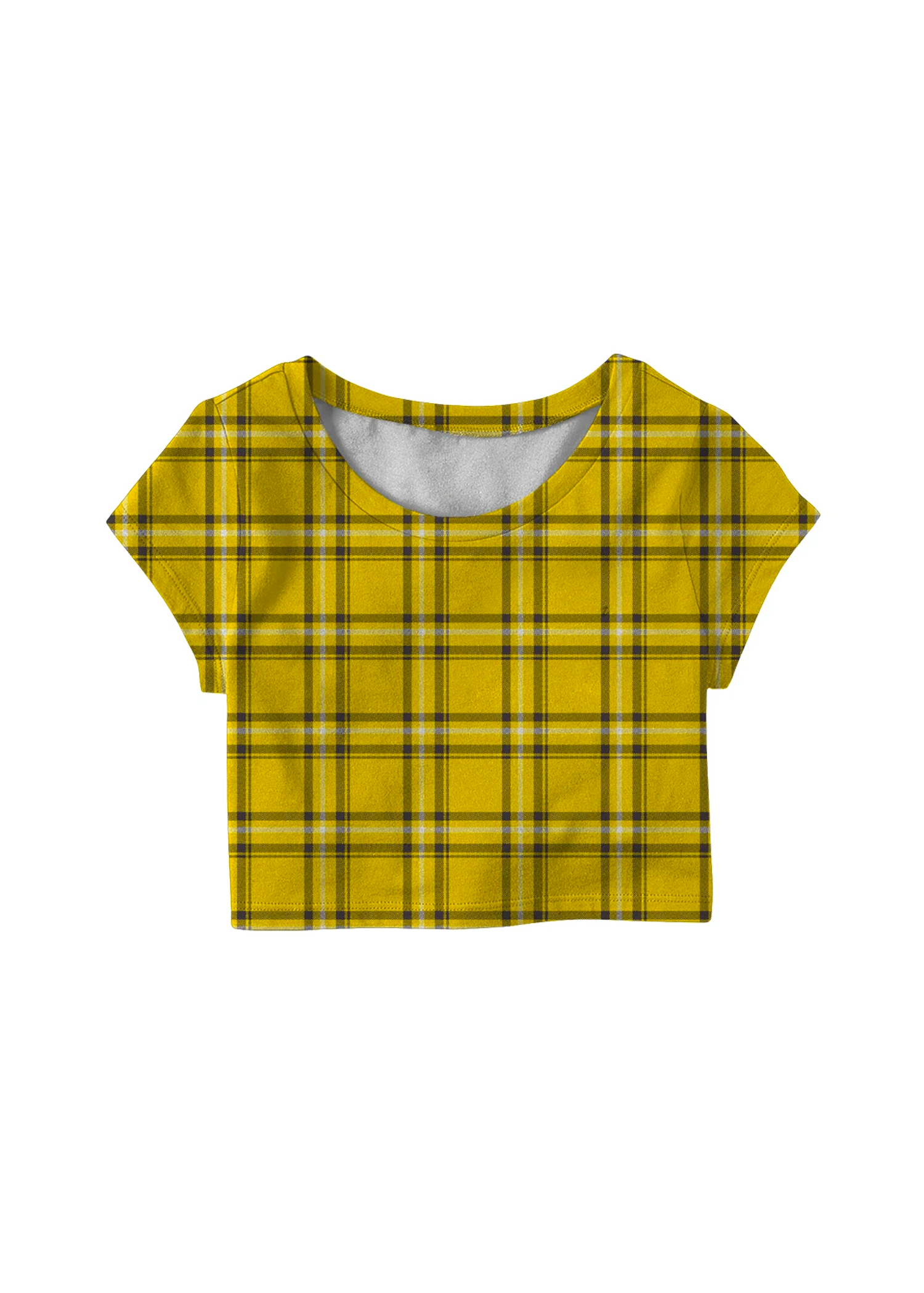 velvet clueless plaid crop tee