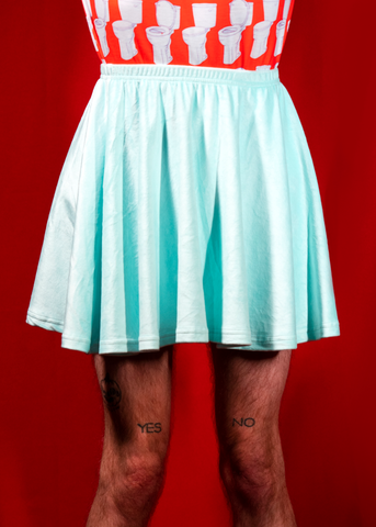 velvet skater skirt in sky blue