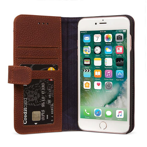 Funda Wallet de cuero iPhone 7 Plus/8 Plus Café Decoded FUNDAS IPHONE DECODED