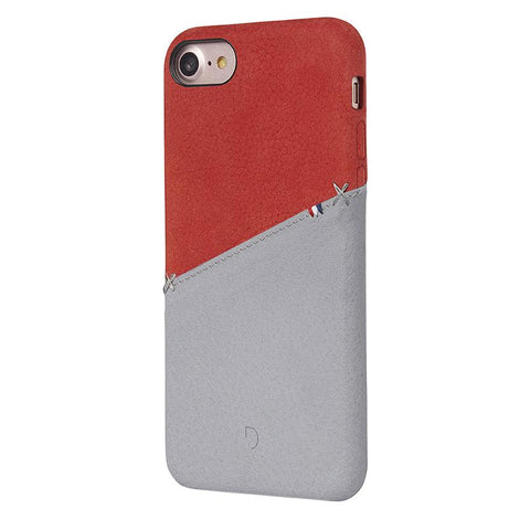 Funda de Cuero Snap-On iPhone 7/8 Roja/Gris Decoded I DECODED