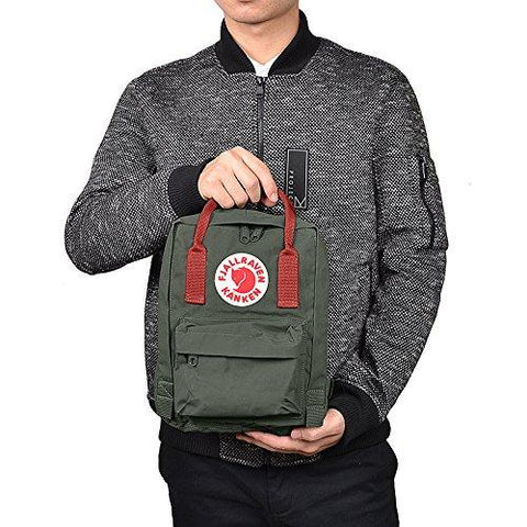 Mochila Kanken Mini Forest Green - Ox Red Mochilas Urbanas KANKEN