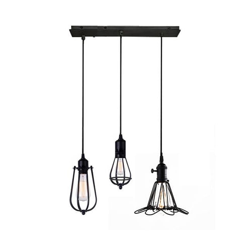 Lámpara Colgante Industrial Mix 3 Luces Negro I TEMPORA