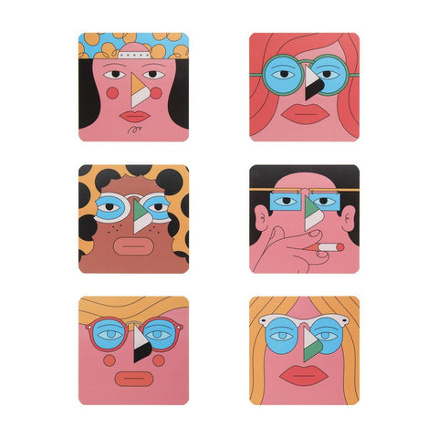 Set de 6 Posavasos Faces - ONLY JOKE-depto-51.myshopify.com