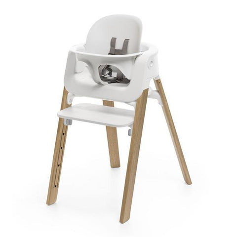 Pack Silla Stokke Steps Blanco/Roble Natural + Baby Set I STOKKE