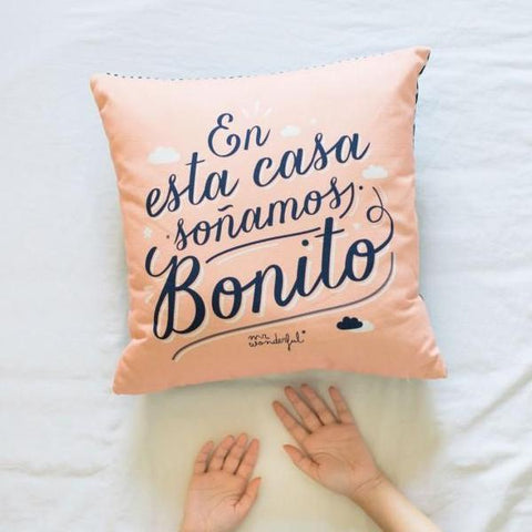 Funda de cojín - En esta casa soñamos bonito Mr. Wonderful - MR.WONDERFUL