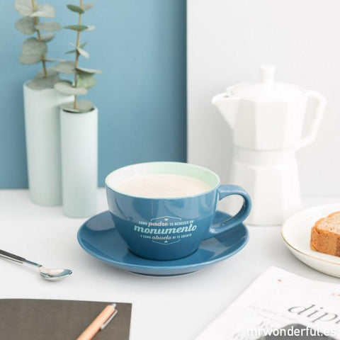 Taza y plato - Como padre te mereces un monumento Mr. Wonderful