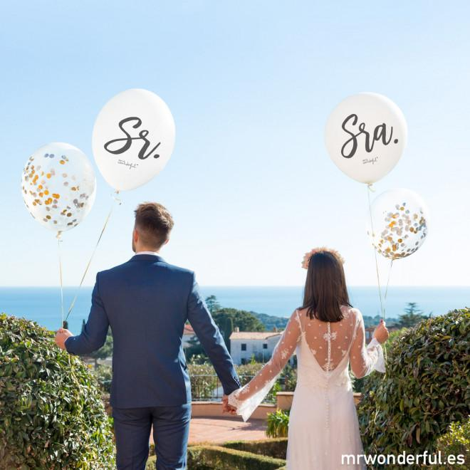 Set de 4 Globos para Matrimonios - Sr y Sra Mr. Wonderful I MR.WONDERFUL