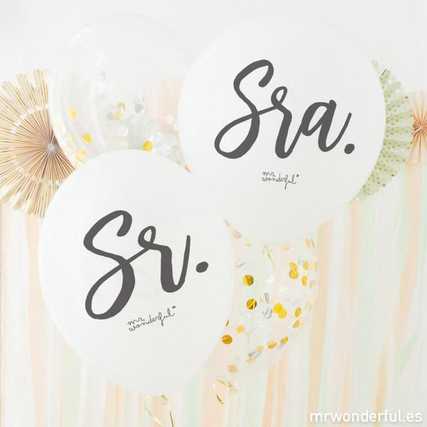 Set de 4 Globos para Matrimonios - Sr y Sra Mr. Wonderful