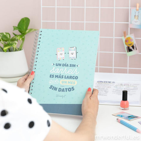 Libreta - Un día sin sonreír es mas largo que un mes sin datos Mr. Wonderful MR.WONDERFUL- Depto51